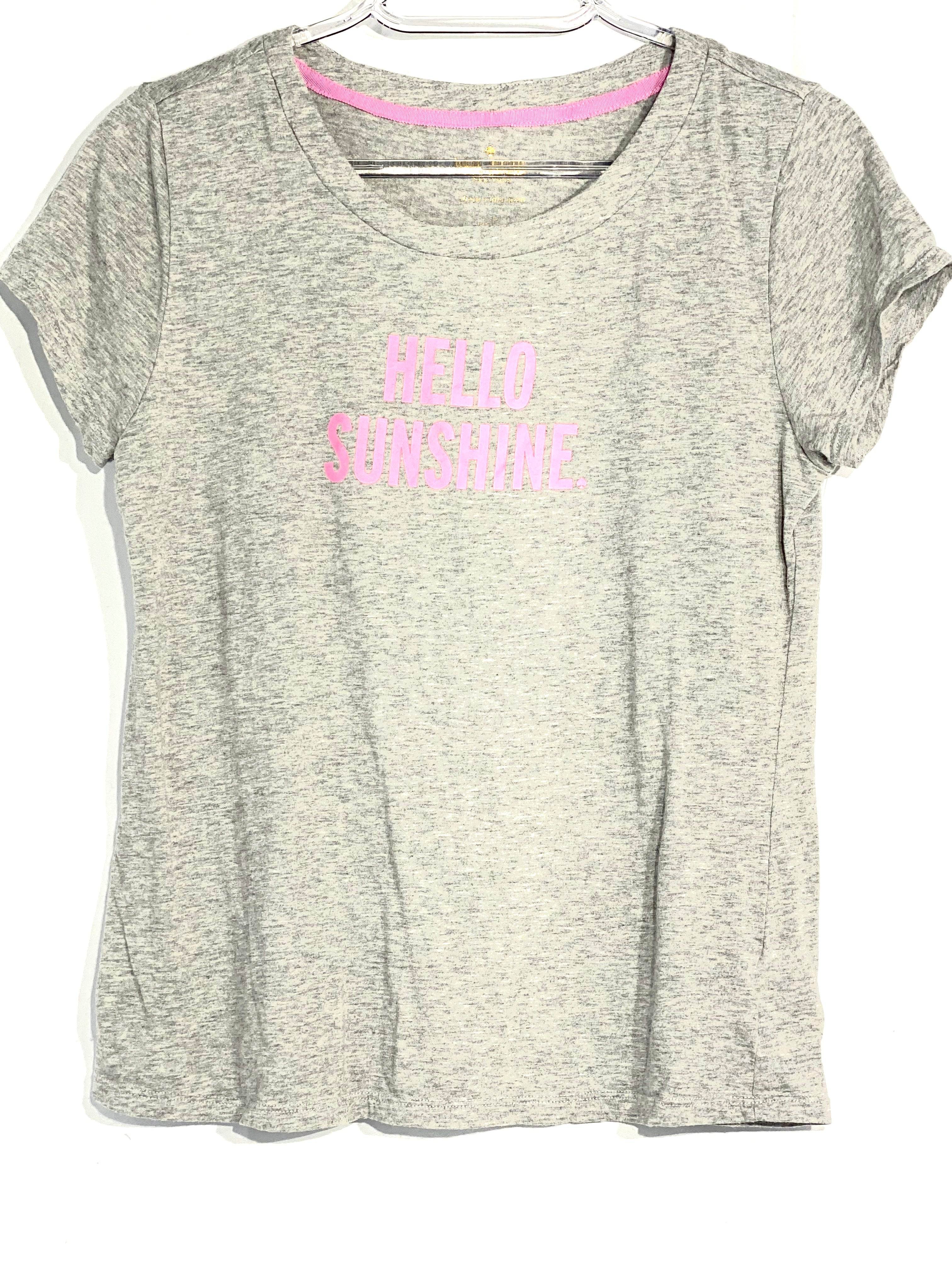 Primary Photo - BRAND: KATE SPADE <BR>STYLE: TOP SHORT SLEEVE <BR>COLOR: GREY <BR>SIZE: S <BR>SKU: 262-26275-65944<BR><BR>DESIGNER FINAL <BR>PINK LETTERS MUCH BRIGHTER THAN PIC SHOWS
