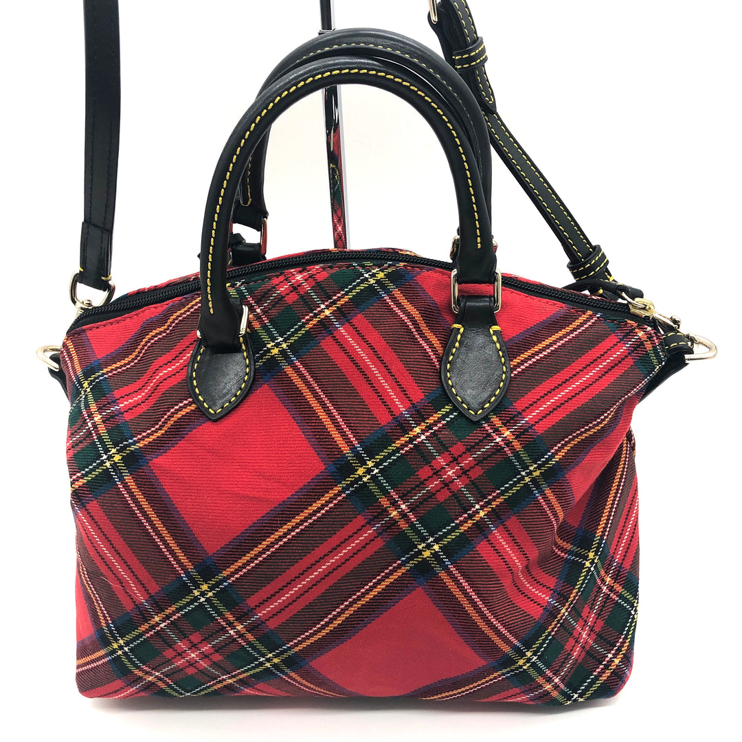 "Photo #1 - BRAND: DOONEY AND BOURKE <BR>STYLE: HANDBAG DESIGNER <BR>COLOR: PLAID <BR>SIZE: MEDIUM <BR>SKU: 262-26241-44660<BR><BR>APPROX. 10.75""L X 10""H X 5.5""D. AS IS, SLIGHT WEAR TO METALWARE + MISSING ONE OF THE FOUR FEET"