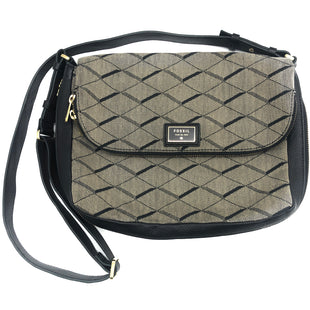 "Primary Photo - BRAND: FOSSIL STYLE: HANDBAG COLOR: BLACK WHITE SIZE: SMALL SKU: 262-26275-74458APPROX. 13""L X 9""H X 2.5""D"