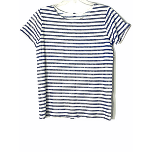 Primary Photo - BRAND: NEIMAN MARCUS STYLE: TOP SHORT SLEEVE COLOR: STRIPED BLUESIZE: M/L 3SKU: 262-26211-14522792% LINEN8% ELASTANE METALLIC IN STRIPES