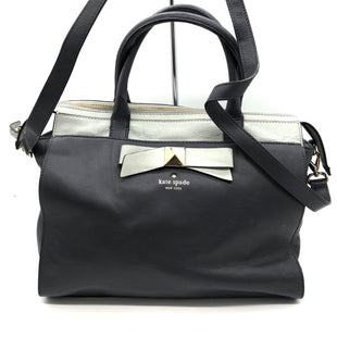 "Primary Photo - BRAND: KATE SPADE STYLE: HANDBAG DESIGNER COLOR: NAVY SIZE: MEDIUM SKU: 262-26275-76390APPROX. 12""L X 10.25""H X 5""D. DARK GREY COLOR, GENTLE WEAR TO BOTTOM"