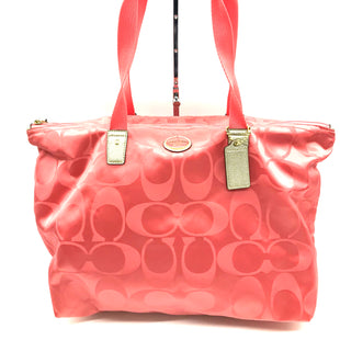 "Primary Photo - BRAND: COACH STYLE: HANDBAG DESIGNER COLOR: PEACH SIZE: LARGE SKU: 262-26211-131031APPROX. 17.75""L X 11""H X 7""D. INCLUDES DETACHABLE INTERIOR POUCH APPROX. 10""L X 7.25""H. GENTLE WEAR ON BACK"