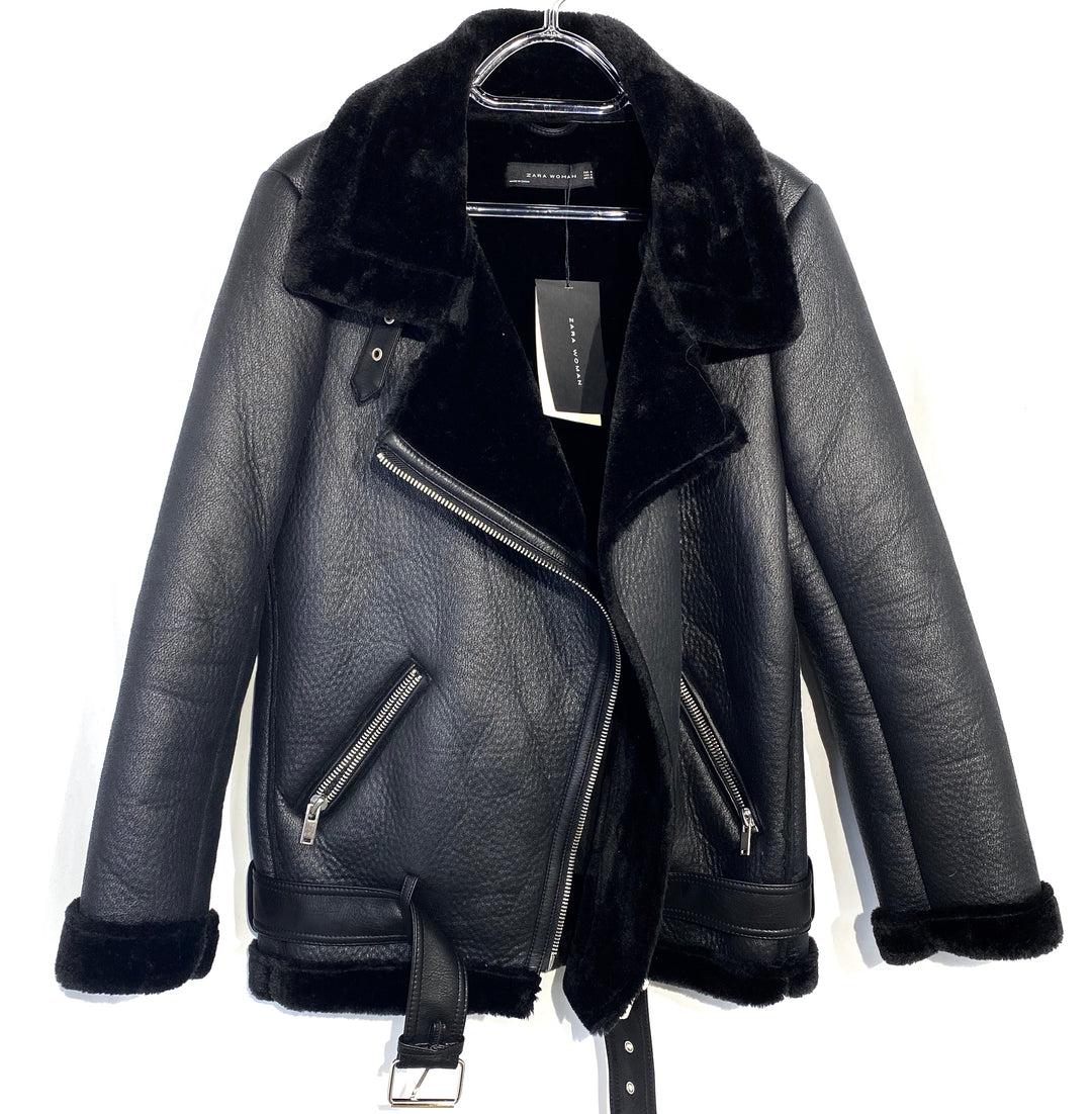 Primary Photo - BRAND: ZARA BASIC <BR>STYLE: JACKET OUTDOOR <BR>COLOR: BLACK <BR>SIZE: M <BR>SKU: 262-26211-138603<BR>LEATHER LIKE