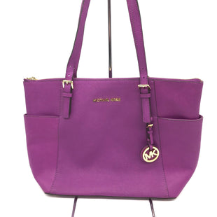 "Primary Photo - BRAND: MICHAEL KORS STYLE: HANDBAG DESIGNER COLOR: PURPLE SIZE: MEDIUM SKU: 262-26241-42732APPROX. 14.5""L X 10""H X 4""D. SOME SLIGHT SPOTS REFLECTED IN PRICE AS IS."