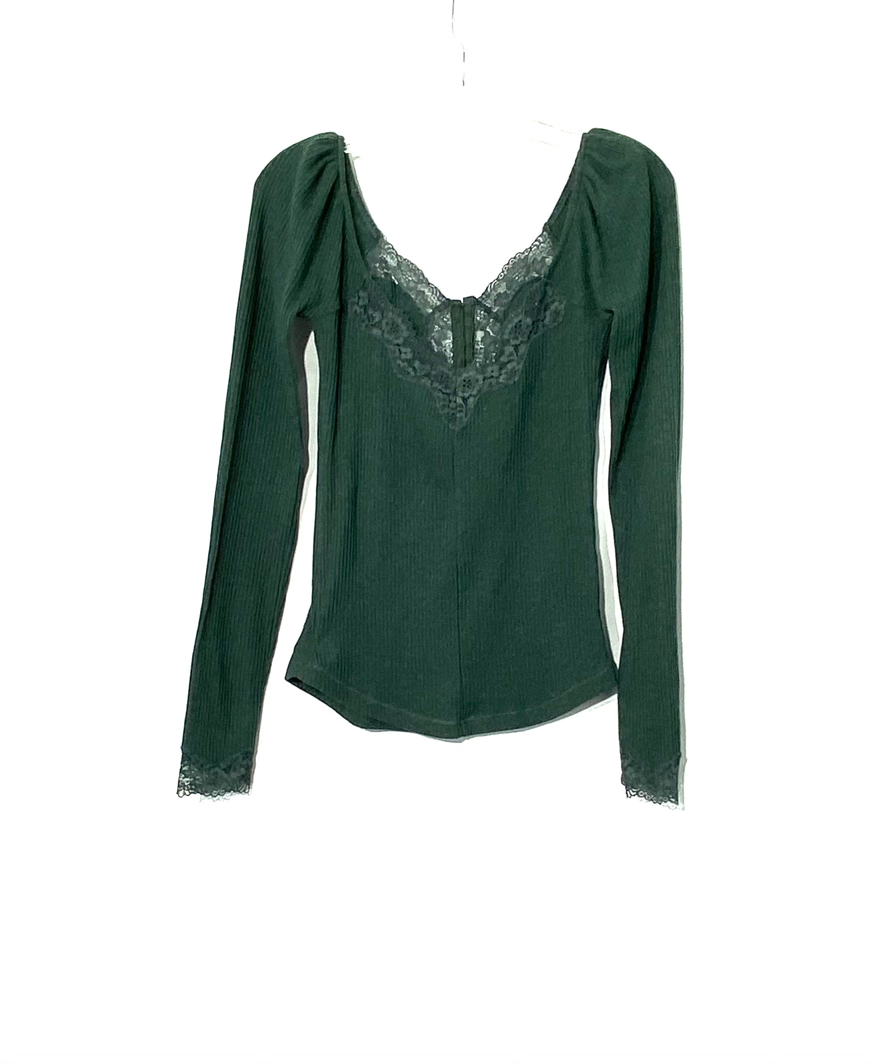 Photo #1 - BRAND: FREE PEOPLE <BR>STYLE: TOP LONG SLEEVE <BR>COLOR: DARK GREEN<BR>SIZE: S <BR>SKU: 262-26275-71506