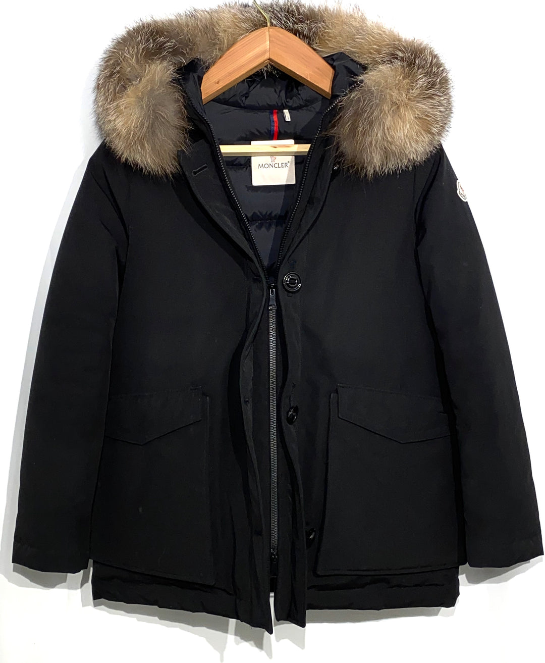 "Primary Photo - <P>BRAND: MONCLER<BR>STYLE: COAT<BR>COLOR: BLACK <BR>SIZE: 2/M<BR>OTHER INFO: MONCLER - <BR>SKU: 262-26275-64992<BR><BR>DESIGNER FINAL <BR>GREAT CONDITION SLIGHTEST FADE ON POCKET CORNERS (SEE PICS)<BR>PIT TO HEM 20""</P> <P>THIS FITS LIKE SIZE 10</P>"
