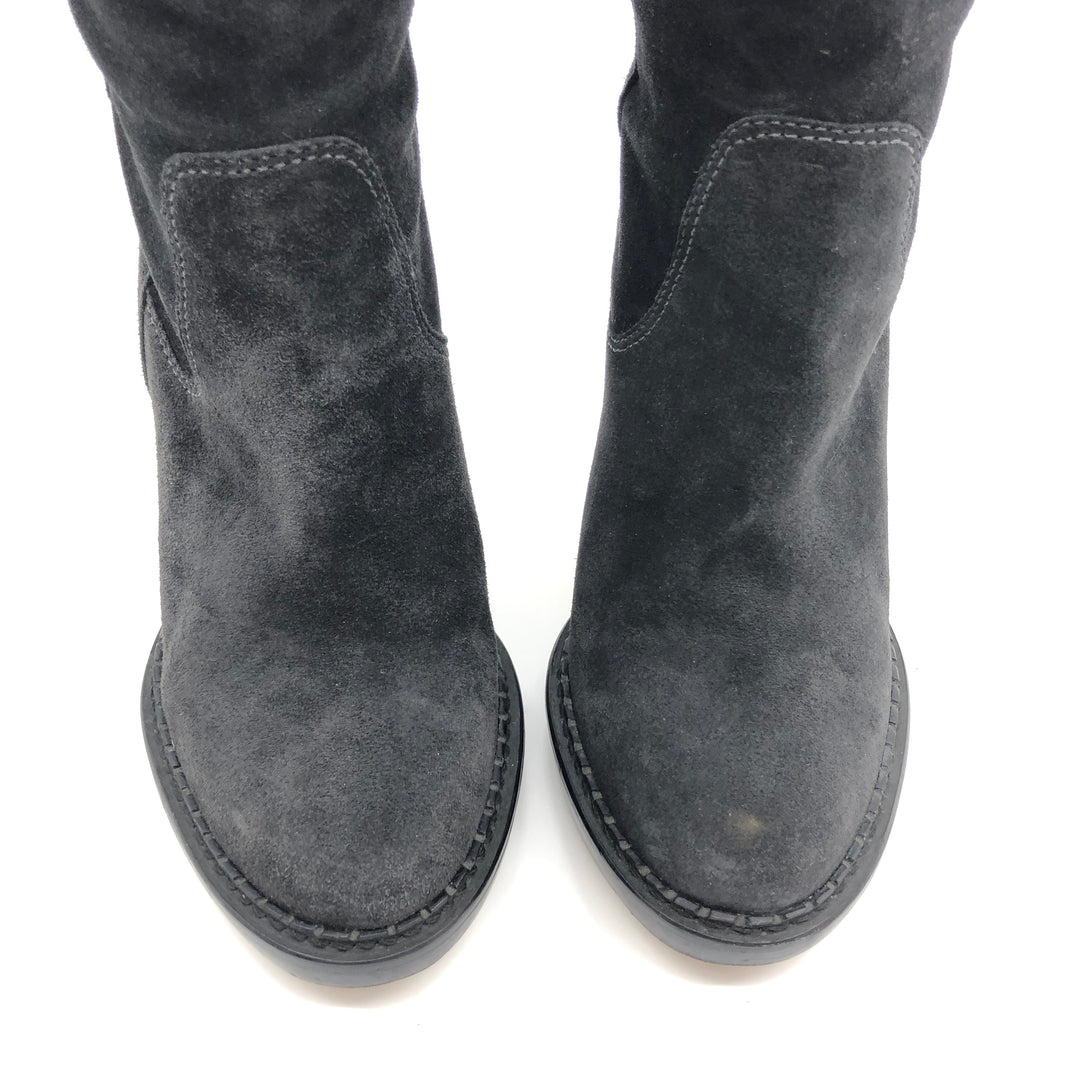 "Photo #2 - BRAND: MICHAEL KORS <BR>STYLE: BOOTS KNEE <BR>COLOR: BLACK <BR>SIZE: 10 <BR>SKU: 262-262101-2081<BR>CALF OPENING CIRCUMFERENCE: 16.5"" <BR>LOWER CIRCUMFERENCE: 12.5""<BR>NARROW TOES • GENTLE WEAR • 5"" HEEL HEIGHT • 15"" BOOTS HEIGHT •"