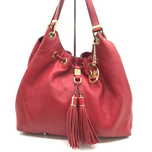 "Primary Photo - BRAND: MICHAEL KORS STYLE: HANDBAG DESIGNER COLOR: RED SIZE: LARGE 10""H X 14.5""L X 5""WHANDLE DROP: 10""SKU: 262-262101-1873SOME SPOTS AND GENTLE WEAR ON BOTTOM CORNERS - AS IS"