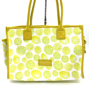 "Primary Photo - BRAND: DOONEY AND BOURKE STYLE: HANDBAG DESIGNER COLOR: LEMON SIZE: MEDIUM SKU: 262-26275-50372AS IS CRACK ON THE BOTTOM (SEE PHOTOS) DESIGNER BRAND FINAL SALE APPROX 14""X10""6.5""HANDLE DROP APPROX 8"""