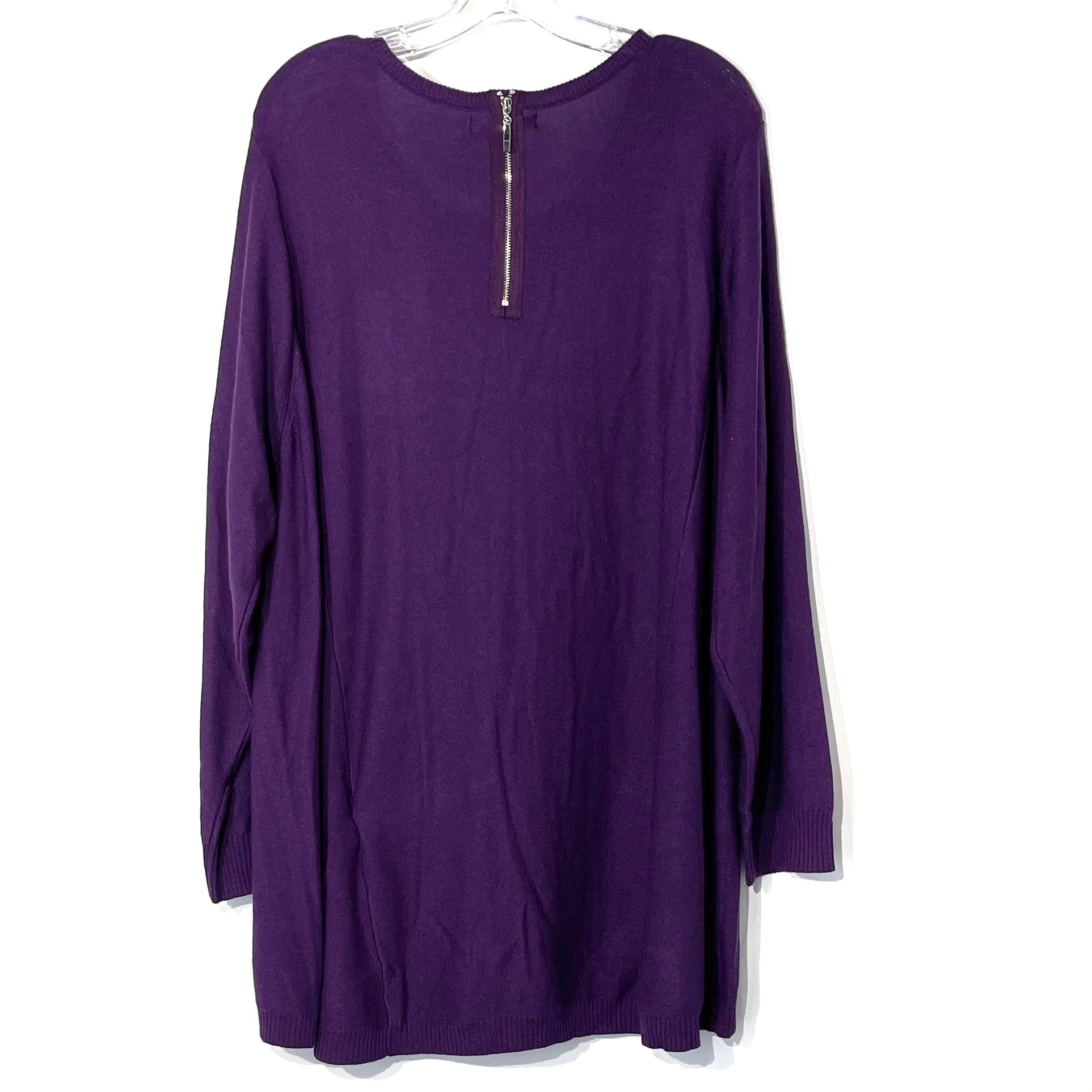 Photo #1 - BRAND:    TWO TWENTY FIVE <BR>STYLE: SWEATER LIGHTWEIGHT <BR>COLOR: PURPLE <BR>SIZE: 3X <BR>OTHER INFO: 225 - <BR>SKU: 262-26275-73827<BR>6% CASHMERE