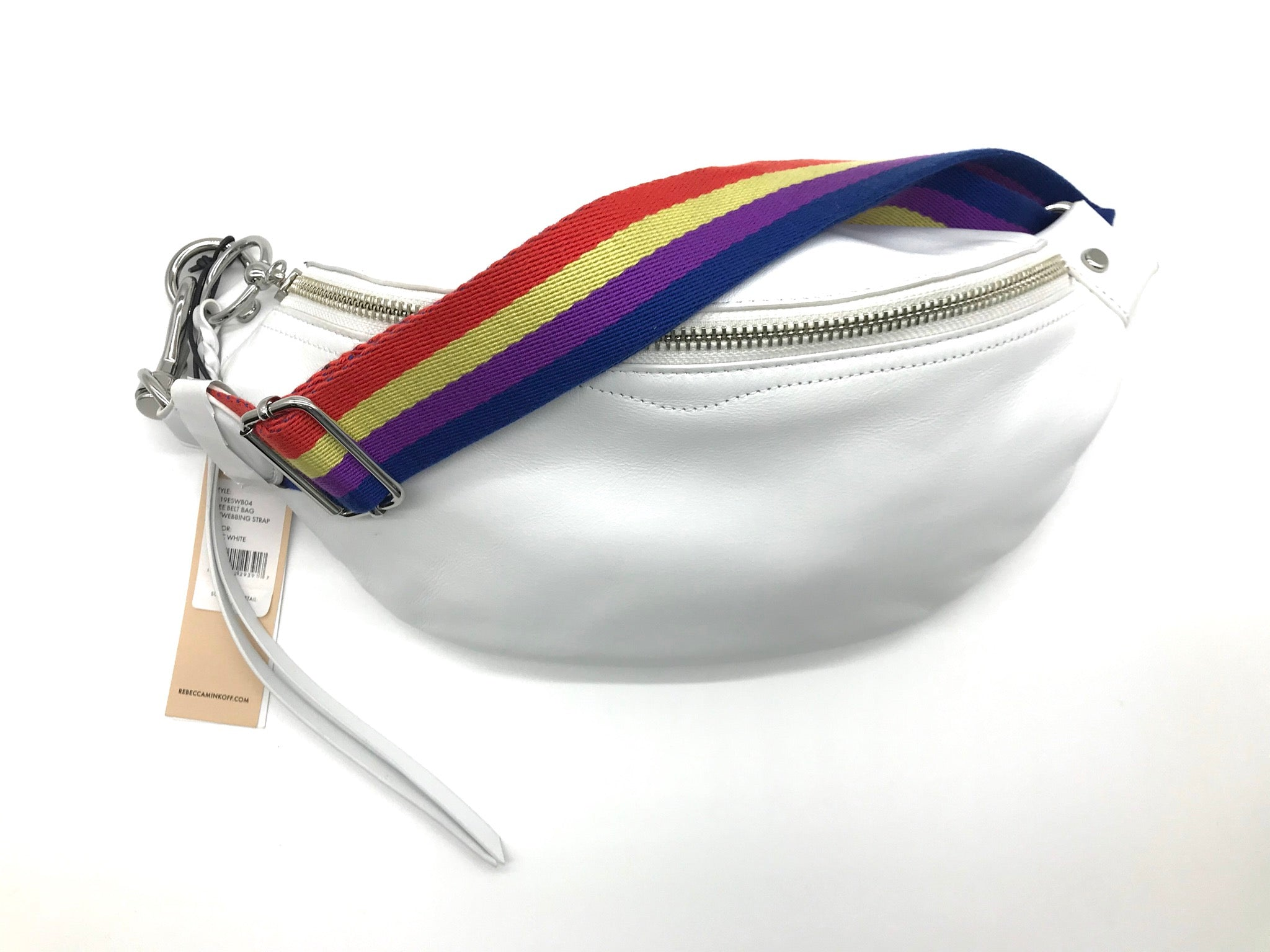 "Primary Photo - BRAND: REBECCA MINKOFF <BR>STYLE: HANDBAG DESIGNER <BR>COLOR: WHITE <BR>SIZE: SMALL <BR>SKU: 262-26241-42186<BR><BR>APPROX. 11"" X 5.75"". BREE BELT BAG, EXCELLENT CONDITION WITH TAG BUT WITH ONLY COUPLE SLIGHT SPOTS."