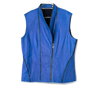 Primary Photo - BRAND: ELIE TAHARI STYLE: LEATHER VEST COLOR: LEATHER BLUESIZE: XL SKU: 262-26275-74565DESIGNER FINAL