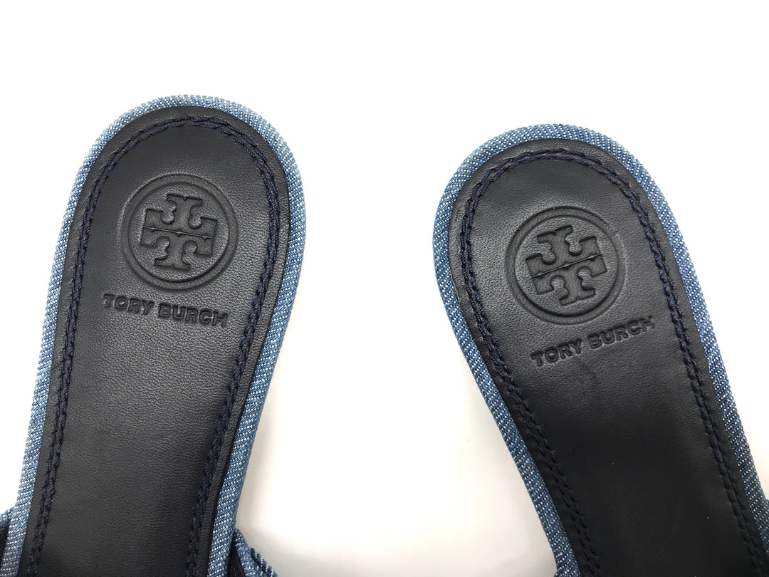 Photo #4 - BRAND: TORY BURCH <BR>STYLE: SANDALS FLAT <BR>COLOR: DENIM <BR>SIZE: 7 <BR>OTHER INFO: AS IS <BR>SKU: 262-26241-34652<BR><BR>ANNABELLE DENIM BOW FLAT. PRICE REFLECTS SOME SLIGHT WEAR TO TOES SHOWN, GOOD OVERALL CONDITION.