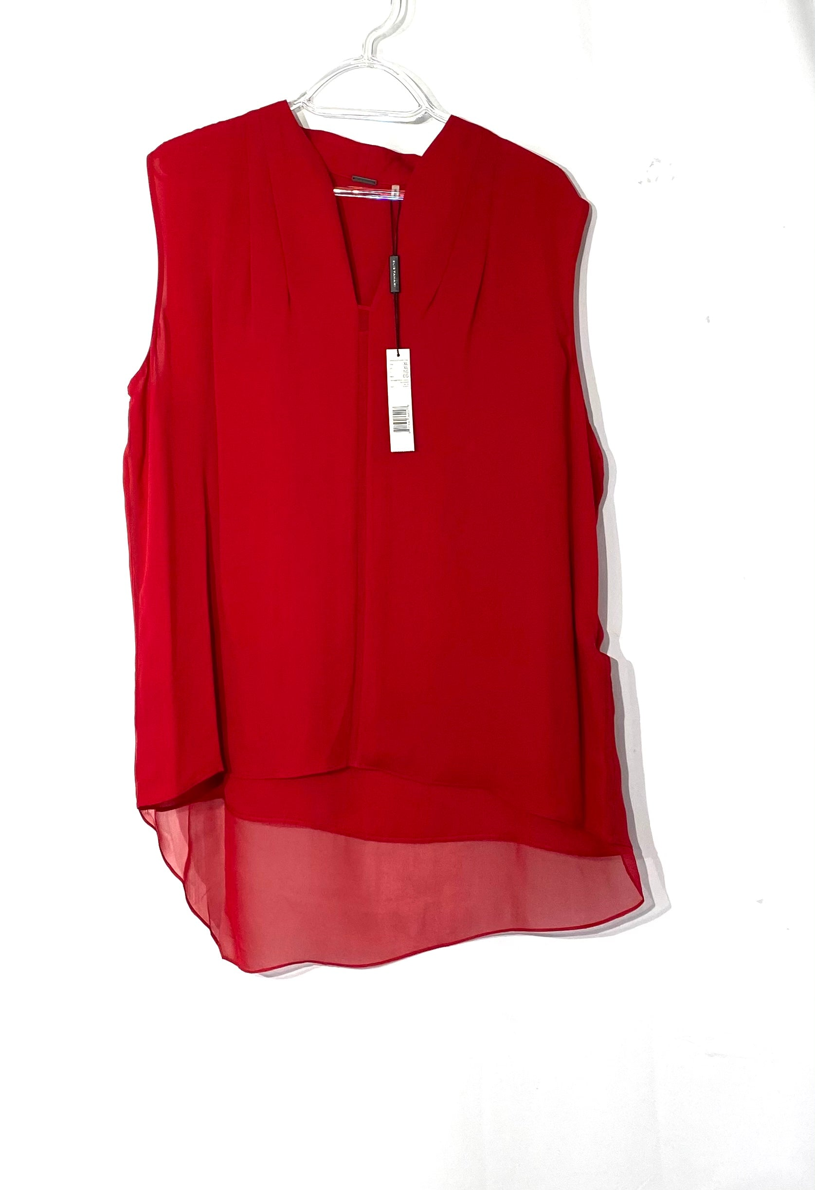 Primary Photo - BRAND: ELIE TAHARI <BR>STYLE: TOP SLEEVELESS <BR>COLOR: RED <BR>SIZE: XL <BR>SKU: 262-26275-71972<BR>100% SILK<BR>DESIGNER FINAL