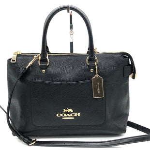 "Primary Photo - BRAND: COACH STYLE: HANDBAG DESIGNER COLOR: BLACK SIZE: MEDIUM SKU: 262-26275-74689APPROX. 12""L X 9""H X 5""D. COUPLE SLIGHT SPOTS (CAN LIKELY BE CLEANED), OVERALL GOOD CONDITION"