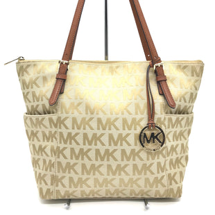 "Primary Photo - BRAND: MICHAEL KORS STYLE: HANDBAG DESIGNER COLOR: MONOGRAM SIZE: MEDIUM 11""H X 15""L X 4""WHANDLE DROP: 9.5"" SKU: 262-26241-38869GENTLE WEAR AND SOME SPOT ON THE BOTTOM - AS IS"