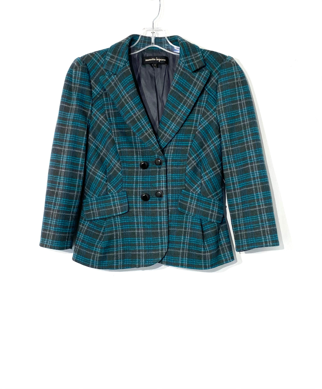"Primary Photo - BRAND: NANETTE LEPORE <BR>STYLE: BLAZER JACKET <BR>COLOR: PLAID <BR>SIZE: S /4<BR>SKU: 262-26275-72008<BR>100% WOOL<BR>SHOULDER SEAM TO WRIST 18""<BR>PIT TO HEM 11.5""<BR>PIT TO PIT 16.5"""