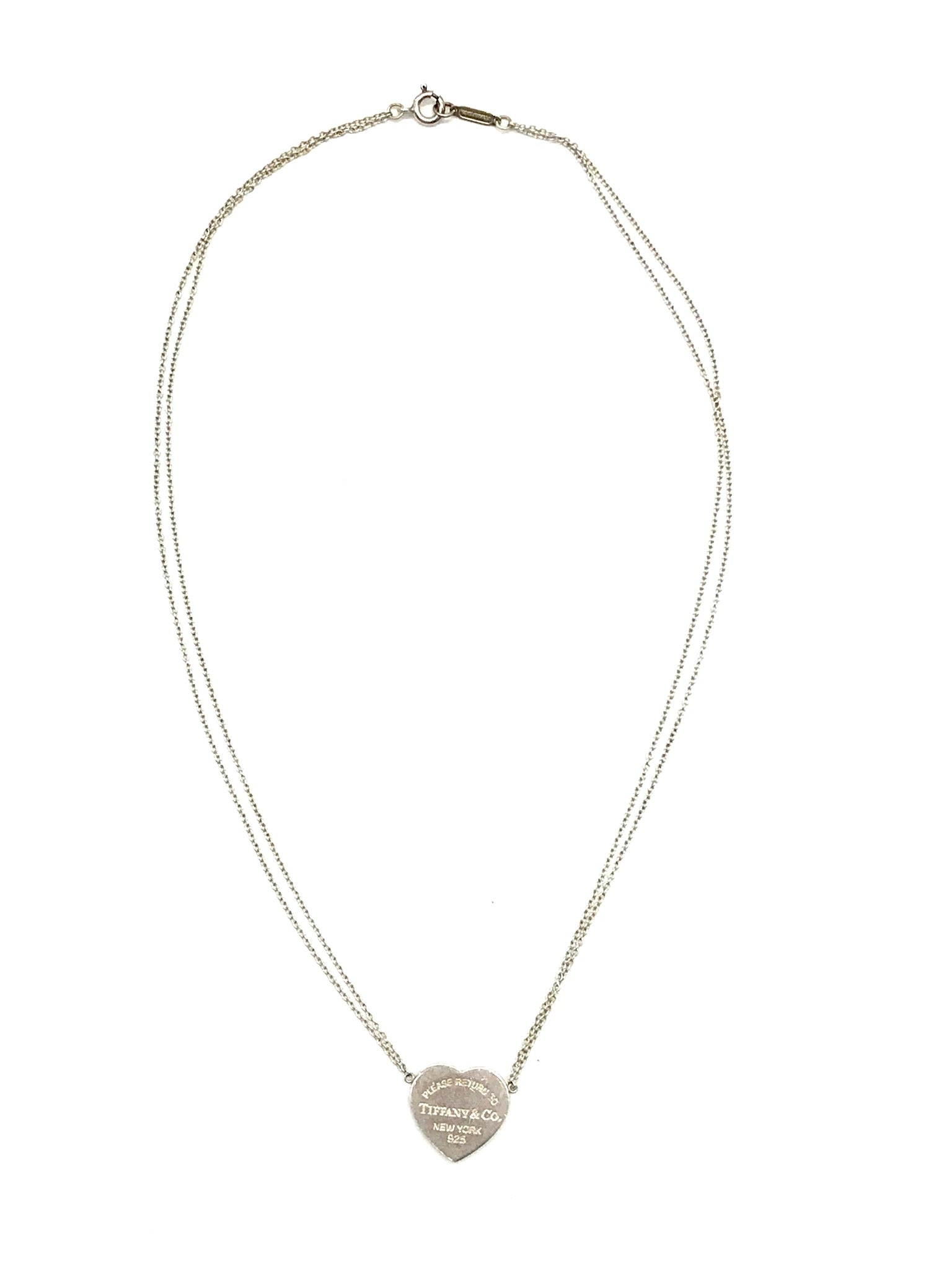 "Photo #2 - BRAND: TIFFANY AND COMPANY <BR>STYLE: RETURN TO TIFFANY HEART TAG DOUBLE CHAIN 16"" NECKLACE <BR>COLOR: HEART <BR>SKU: 262-26275-64433<BR>GENTLE SCRATCHES AND WEAR<BR>DESIGNER BRAND - FINAL SALE"