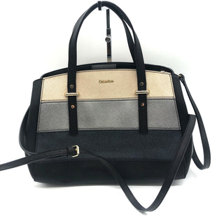 "Primary Photo - BRAND: CALVIN KLEIN STYLE: HANDBAG DESIGNER COLOR: BLACK SIZE: MEDIUM SKU: 262-26275-74460APPROX. 12""L X 9""H X 6""D. MAY HAVE ONE OR TWO SLIGHT SPOTS"