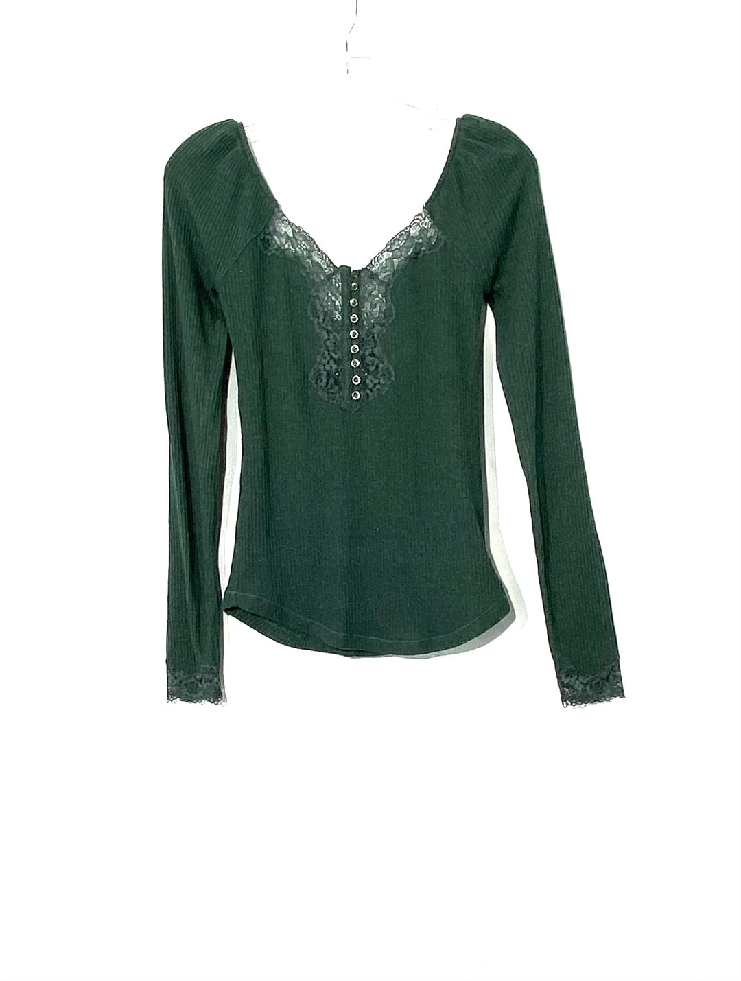 Primary Photo - BRAND: FREE PEOPLE <BR>STYLE: TOP LONG SLEEVE <BR>COLOR: DARK GREEN<BR>SIZE: S <BR>SKU: 262-26275-71506