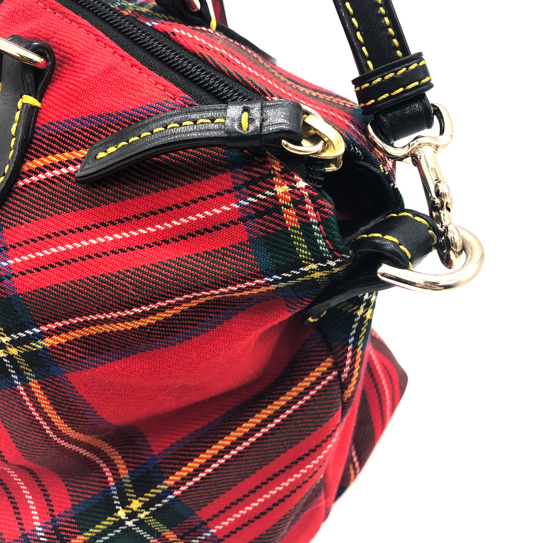 "Photo #3 - BRAND: DOONEY AND BOURKE <BR>STYLE: HANDBAG DESIGNER <BR>COLOR: PLAID <BR>SIZE: MEDIUM <BR>SKU: 262-26241-44660<BR><BR>APPROX. 10.75""L X 10""H X 5.5""D. AS IS, SLIGHT WEAR TO METALWARE + MISSING ONE OF THE FOUR FEET"