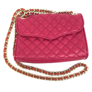 "Primary Photo - BRAND: REBECCA MINKOFF STYLE: HANDBAG DESIGNER COLOR: RASPBERRY SIZE: SMALL SKU: 262-26211-141992VISIBLE WEAR ON UNDERSIDE OF STRAP, INTERIOR. APPROX. 8.5""L X 6.25""H X 2""D"
