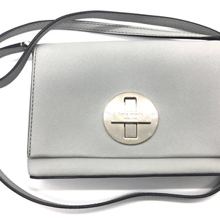 "Primary Photo - BRAND: KATE SPADE STYLE: HANDBAG DESIGNER COLOR: GREY SIZE: SMALL OTHER INFO: AS IS SCRATCHES FRONT SPOT INSIDE SKU: 262-26241-44684SLIGHT SCRATCHES TO METAL ON FRONT, SLIGHT SPOT INSIDE. APPROX. 8""L X 4.75""H. STRAP DROP APPROX. 22"""