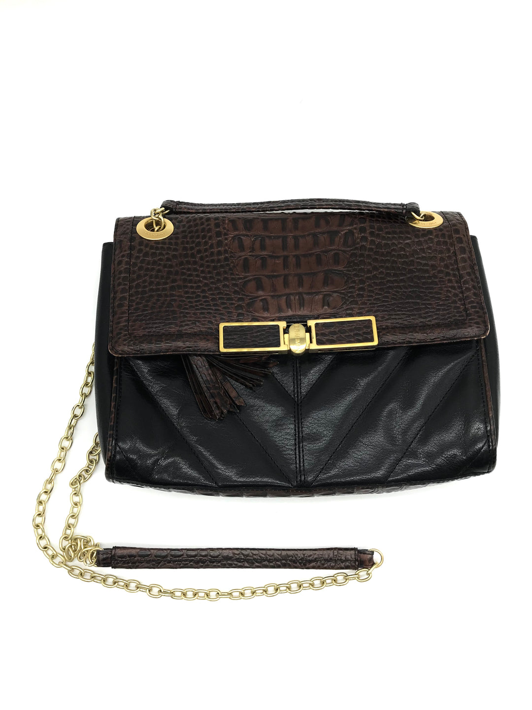"Primary Photo - BRAND: BRAHMIN <BR>STYLE: HANDBAG DESIGNER <BR>COLOR: BLACK <BR>SIZE: MEDIUM <BR>SKU: 262-26275-69470<BR><BR>APPROX. 10""L X 8""H X 2.5""D"