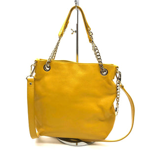 "Primary Photo - BRAND: MICHAEL KORS STYLE: HANDBAG DESIGNER COLOR: YELLOW SIZE: SMALL SKU: 262-26275-76368RDESIGNER BRAND FINAL SALE AS IS A FEW SMALL WEAR SPOTS, SLIGHT WEAR ON CORNERS, SCRATCHES ON MK LOGO (MK LOGO NOT ABLE TO BE PHOTOGRAPHED) APPROX 11""X11.5""X2""HANDLE DROP APPROX 6"""