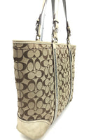 "Photo #1 - BRAND: COACH<BR>STYLE: HANDBAG DESIGNER <BR>COLOR: GOLD <BR>SIZE: LARGE 13""H X 17""L X 2.75""W<BR>STRAP DROP: 9""<BR>SKU: 262-26275-51069<BR>WEAR SHOWS • VISIBLE STAINS ON THE INTERIOR LININGS • AS IS"
