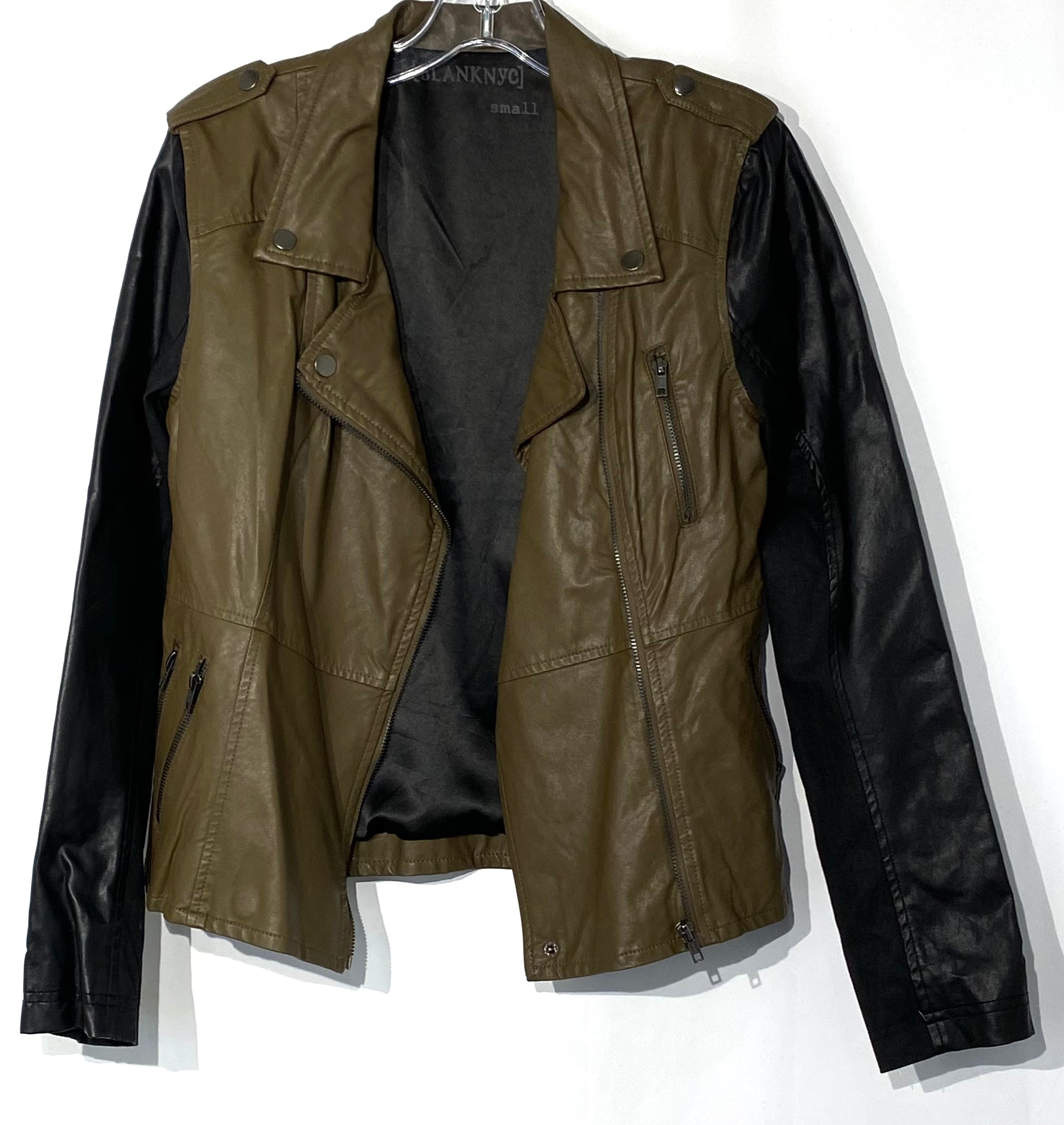 Primary Photo - BRAND: BLANKNYC <BR>STYLE: JACKET OUTDOOR <BR>COLOR: OLIVE <BR>SIZE: S <BR>SKU: 262-26275-69890<BR>LEATHER LOOK