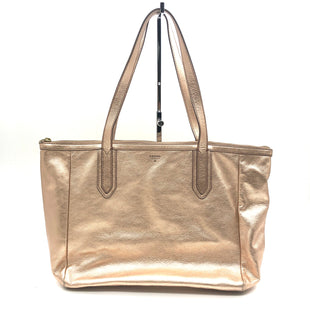 "Primary Photo - BRAND: FOSSIL STYLE: HANDBAG COLOR: METALLIC PINKSIZE: MEDIUM SKU: 262-26275-74105AS IS SLIGHT WEAR ON CORNER DESIGNER BRAND FINAL SALE APPROX 16""X12""X4"""