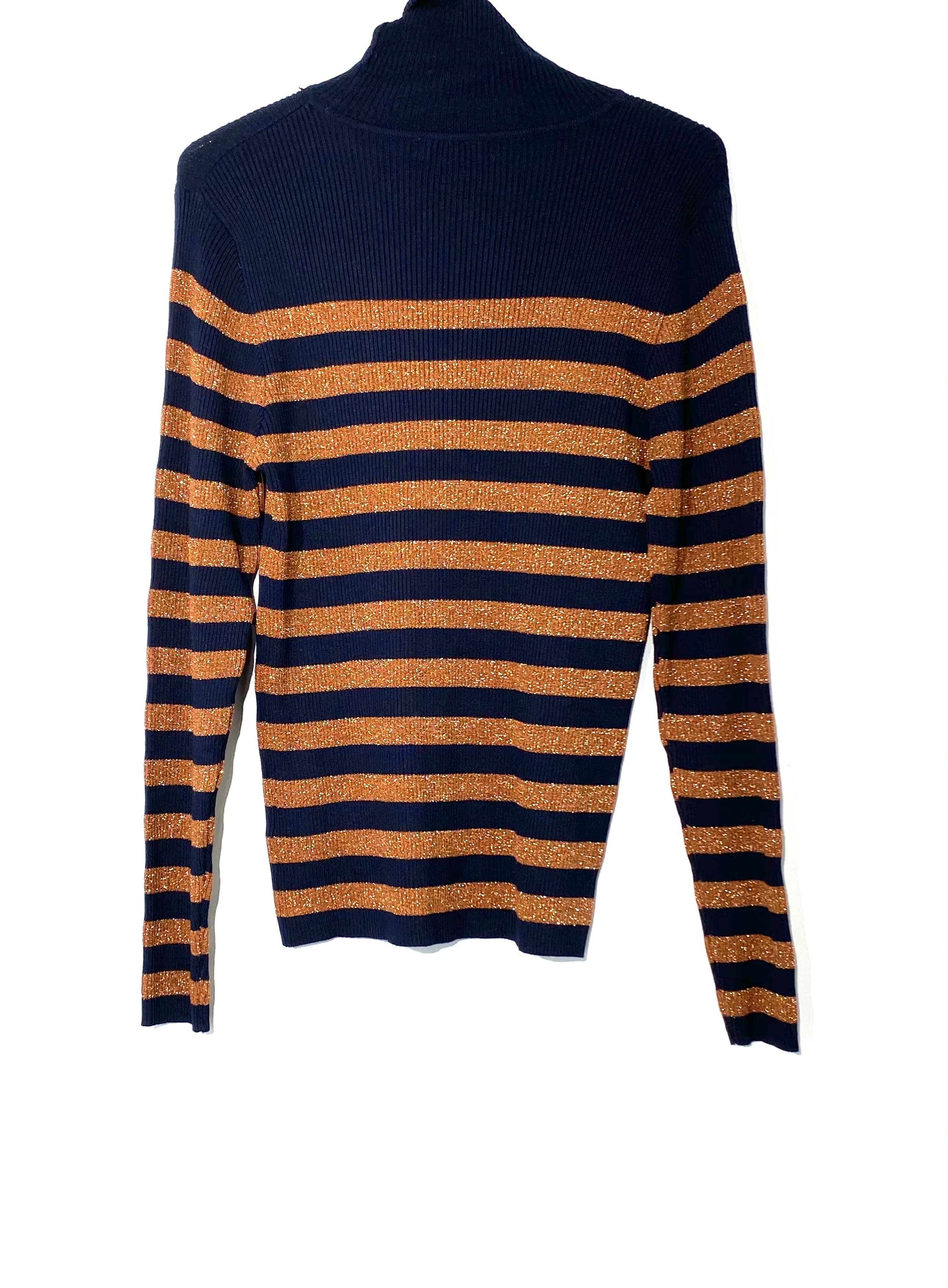 Photo #1 - BRAND:    GALERIES LAFAYETTE <BR>STYLE: SWEATER LIGHTWEIGHT <BR>COLOR: STRIPED METALLIC <BR>SIZE: M <BR>OTHER INFO: GALERIES LAFAYETTE - <BR>SKU: 262-26275-69814