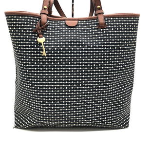 "Primary Photo - BRAND: FOSSIL STYLE: HANDBAG COLOR: BLACK WHITE SIZE: LARGE SKU: 262-26241-46855 APPROX. 14""L X 14""H X 6""D. SLIGHT WEAR TO HANDLE AS SHOWN"