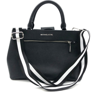 "Primary Photo - BRAND: MICHAEL KORS STYLE: HANDBAG DESIGNER COLOR: BLACK WHITE SIZE: MEDIUM SKU: 262-26275-76596APPROX. 13""L X 9""H X 5""D"