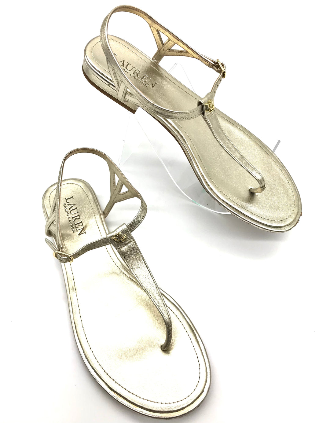 Primary Photo - BRAND: RALPH LAUREN <BR>STYLE: SANDALS FLAT <BR>COLOR: GOLD <BR>SIZE: 7.5 <BR>SKU: 262-26275-70162<BR>GENTLE SCUFFING ON THE TOE AND HEELS - AS IS
