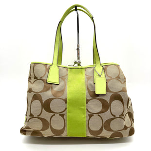 "Primary Photo - BRAND: COACH STYLE: HANDBAG DESIGNER COLOR: LIME GREEN BROWNSIZE: MEDIUM SKU: 262-26211-14440714""L9""HX6""DDROP 8""GENTLEST SPOTS SEE PICS AS IS"