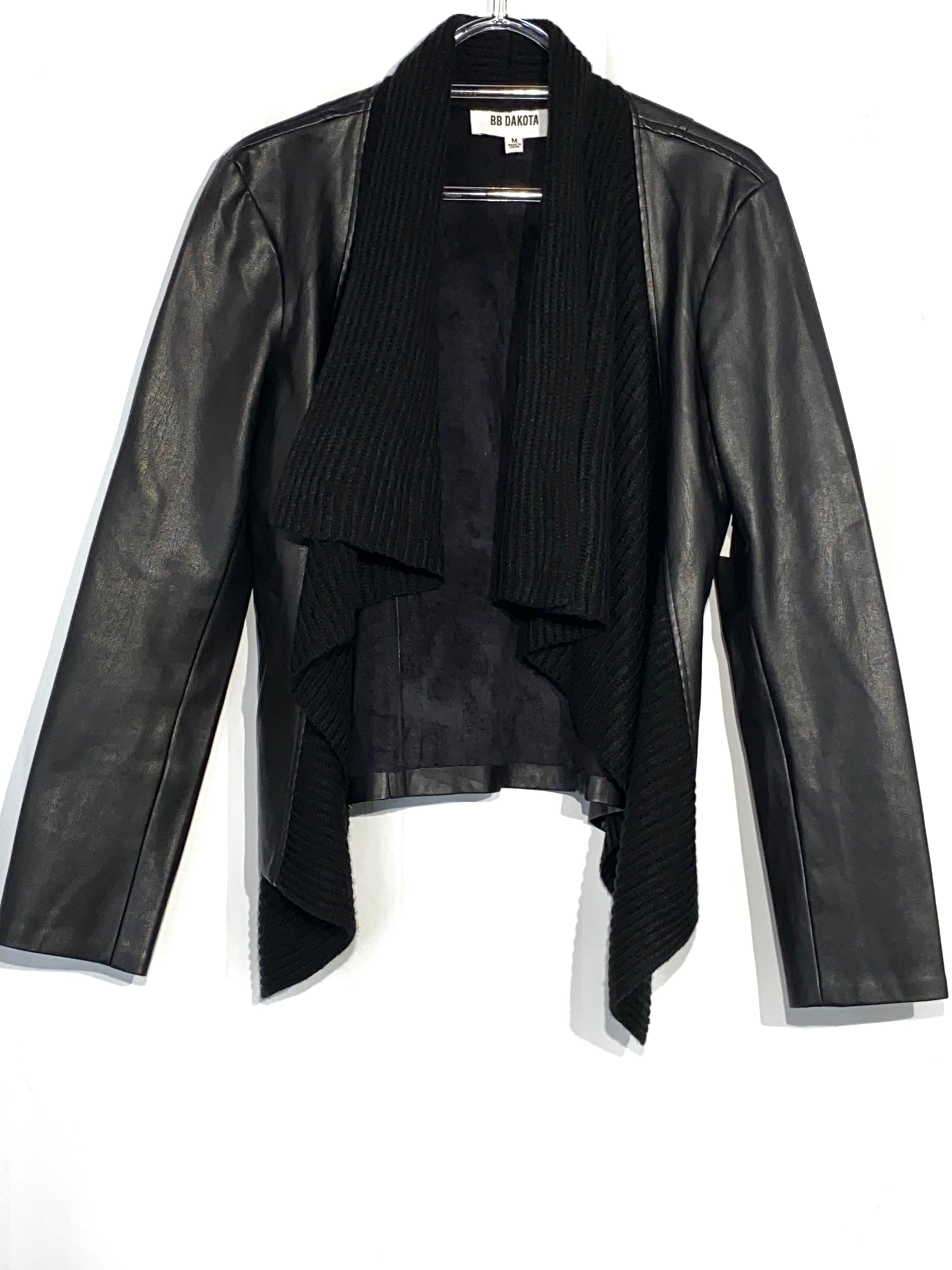 Primary Photo - BRAND: BB DAKOTA <BR>STYLE: JACKET OUTDOOR <BR>COLOR: BLACK <BR>SIZE: M <BR>SKU: 262-26241-42178<BR>LEATHER LOOK