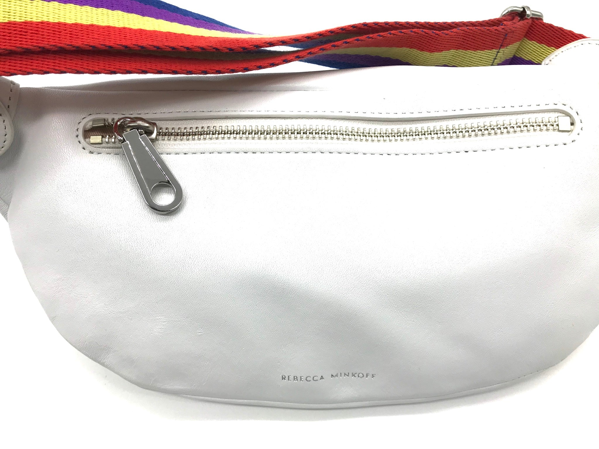 "Photo #1 - BRAND: REBECCA MINKOFF <BR>STYLE: HANDBAG DESIGNER <BR>COLOR: WHITE <BR>SIZE: SMALL <BR>SKU: 262-26241-42186<BR><BR>APPROX. 11"" X 5.75"". BREE BELT BAG, EXCELLENT CONDITION WITH TAG BUT WITH ONLY COUPLE SLIGHT SPOTS."