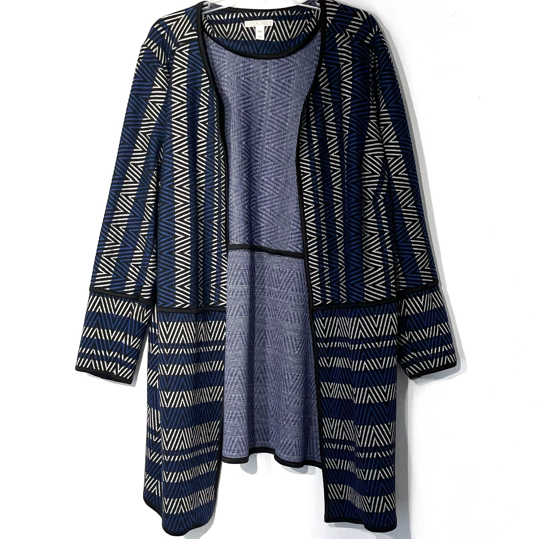 Primary Photo - BRAND: DANA BUCHMAN <BR>STYLE: SWEATER CARDIGAN LIGHTWEIGHT <BR>COLOR: GEOMETRIC <BR>SIZE: 2X <BR>SKU: 262-26211-143547