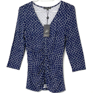Primary Photo - BRAND: ADRIANNA PAPELL STYLE: TOP LONG SLEEVE COLOR: BLUE WHITE SIZE: S SKU: 262-26275-76121