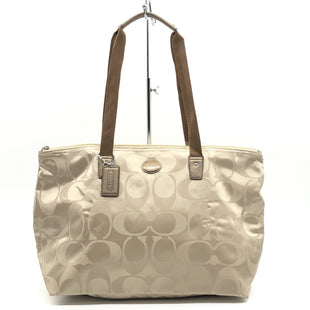 "Primary Photo - BRAND: COACH STYLE: HANDBAG DESIGNER COLOR: BEIGE SIZE: MEDIUM 11""H X 18""L X 8""W DROP: 9""SKU: 262-26275-77635IN EXCELLENT SHAPE AND CONDITION • REMOVABLE ZIPPER POUCH •"