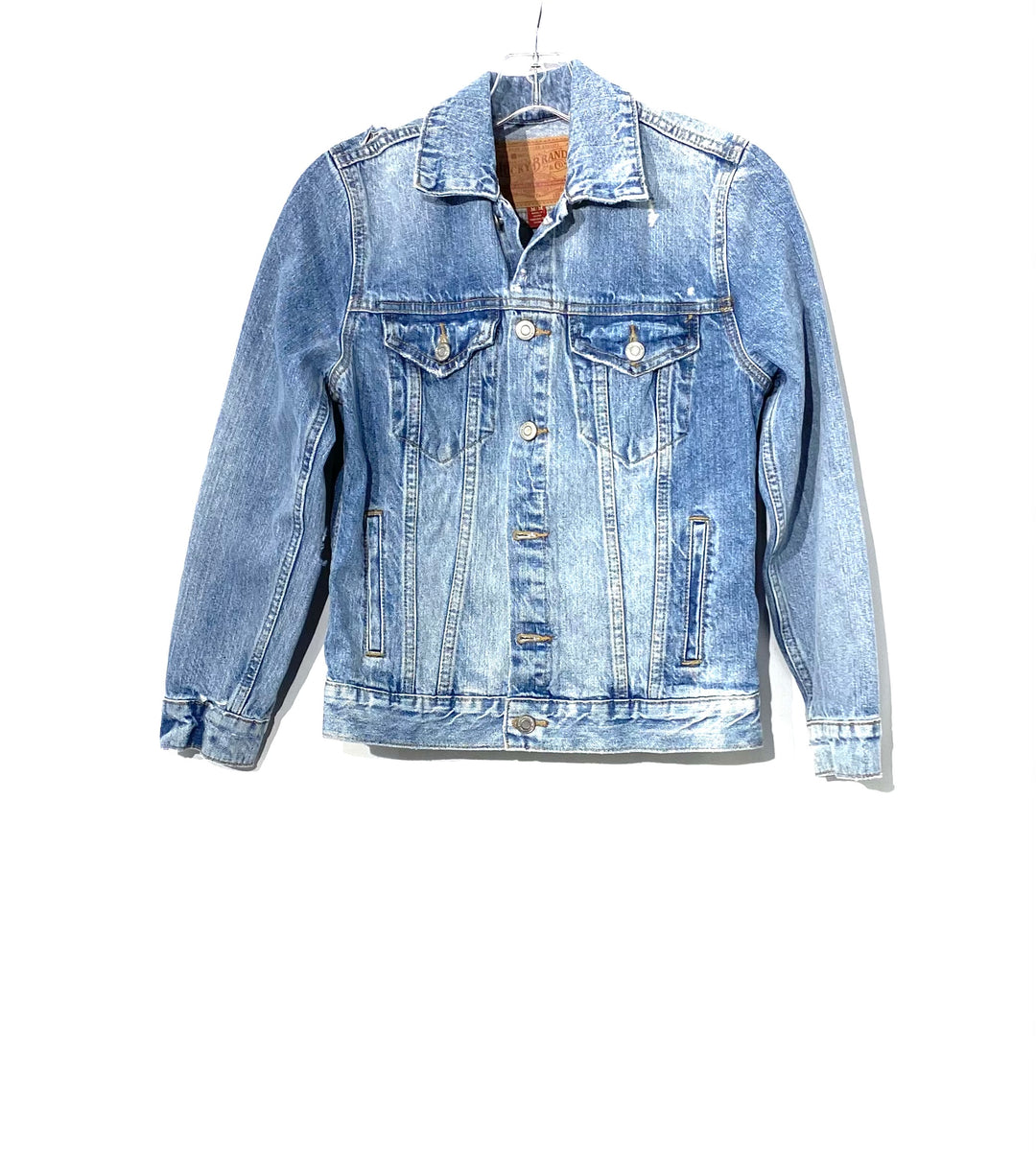 Primary Photo - <P>BRAND: LUCKY BRAND <BR>STYLE: JACKET OUTDOOR <BR>COLOR: DENIM <BR>SIZE: M <BR>SKU: 262-26275-70941<BR>DISTRESSED STYLE</P> <P>NEW WITH TAG</P>