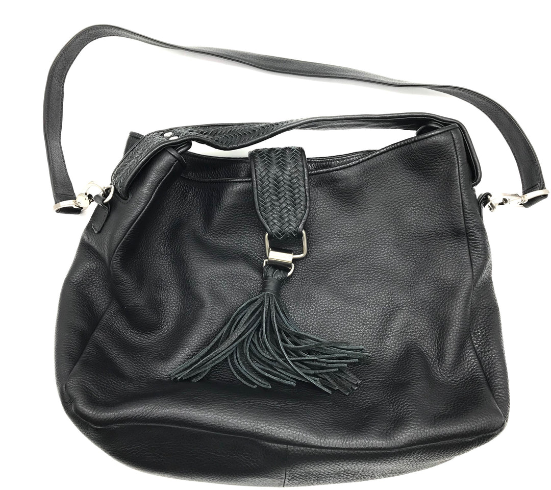 "Primary Photo - <P>BRAND: ROMYGOLD <BR>STYLE: HANDBAG <BR>COLOR: BLACK <BR>SIZE: LARGE <BR>OTHER INFO: ROMYGOLD - <BR>SKU: 262-26275-68938<BR><BR>APPROX. 13.5""L X 12""H X 5""D</P>"