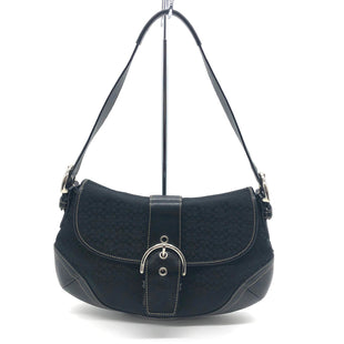"Primary Photo - BRAND: COACH O STYLE: HANDBAG DESIGNER COLOR: BLACK SIZE: SMALL SKU: 262-26275-76389DESIGNER BRAND FINAL SALE AS IS SMALL SPOT, SLIGHT WEAR TO LEATHER AROUND CORNERS (SEE PHOTOS)APPROX 13""X8""2""HANDLE DROP APPROX 9"""