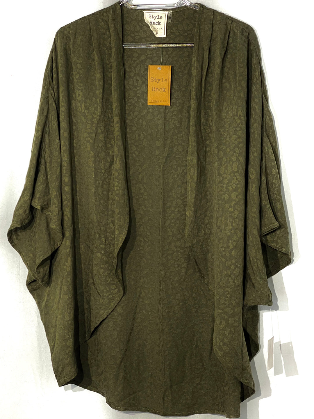 Primary Photo - BRAND:    STYLE RACK<BR>STYLE: TOP SHORT SLEEVE SHAWL<BR>COLOR: OLIVE <BR>SIZE: S <BR>OTHER INFO: STYLERACK  - <BR>SKU: 262-26275-66075