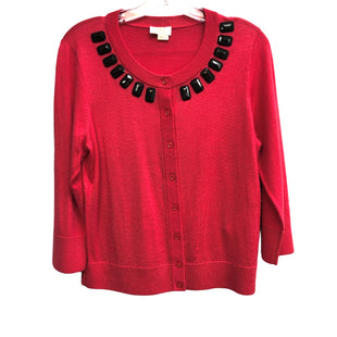Primary Photo - BRAND: KATE SPADE STYLE: SWEATER CARDIGAN LIGHTWEIGHT COLOR: MELON SIZE: M OTHER INFO: APPROX. M SKU: 262-26241-48130DESIGNER ITEM, FINAL SALE. 100% WOOL. TRUE COLOR IS MORE OF A DEEP MELON THAN PURE RED TINT SHOWN