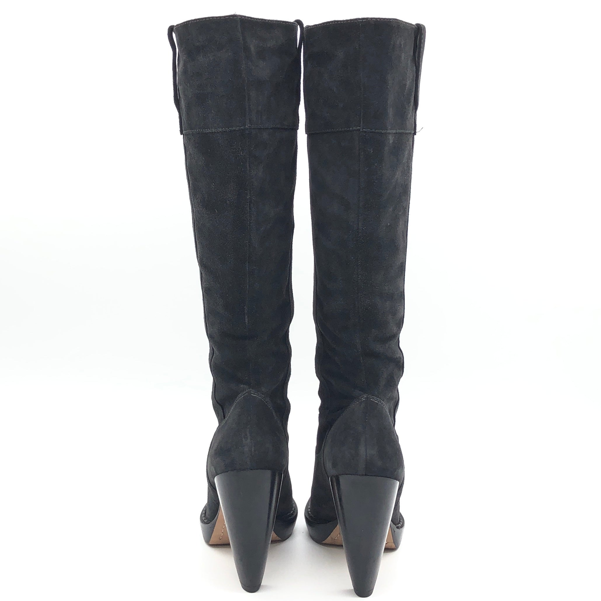 "Photo #3 - BRAND: MICHAEL KORS <BR>STYLE: BOOTS KNEE <BR>COLOR: BLACK <BR>SIZE: 10 <BR>SKU: 262-262101-2081<BR>CALF OPENING CIRCUMFERENCE: 16.5"" <BR>LOWER CIRCUMFERENCE: 12.5""<BR>NARROW TOES • GENTLE WEAR • 5"" HEEL HEIGHT • 15"" BOOTS HEIGHT •"