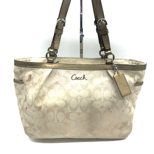 "Primary Photo - BRAND: COACH STYLE: HANDBAG DESIGNER COLOR: MONOGRAM SIZE: MEDIUM OTHER INFO: AS IS SPOTS SKU: 262-26275-55804PRICE REFLECTS GENTLE WEAR. APPROX. 15""L X 9""H X 5""D"