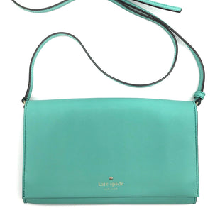 "Primary Photo - BRAND: KATE SPADE STYLE: HANDBAG COLOR: TURQUOISE SIZE: SMALL (6""HX9.5""WX1""D)SHOULDER DROP: 21.5""-24""SKU: 262-26211-140866COUPLE OF SMALL DOTS ON THE FLAP OPENING - OVERALL BAG IS IN GREAT SHAPE AND CONDITION"